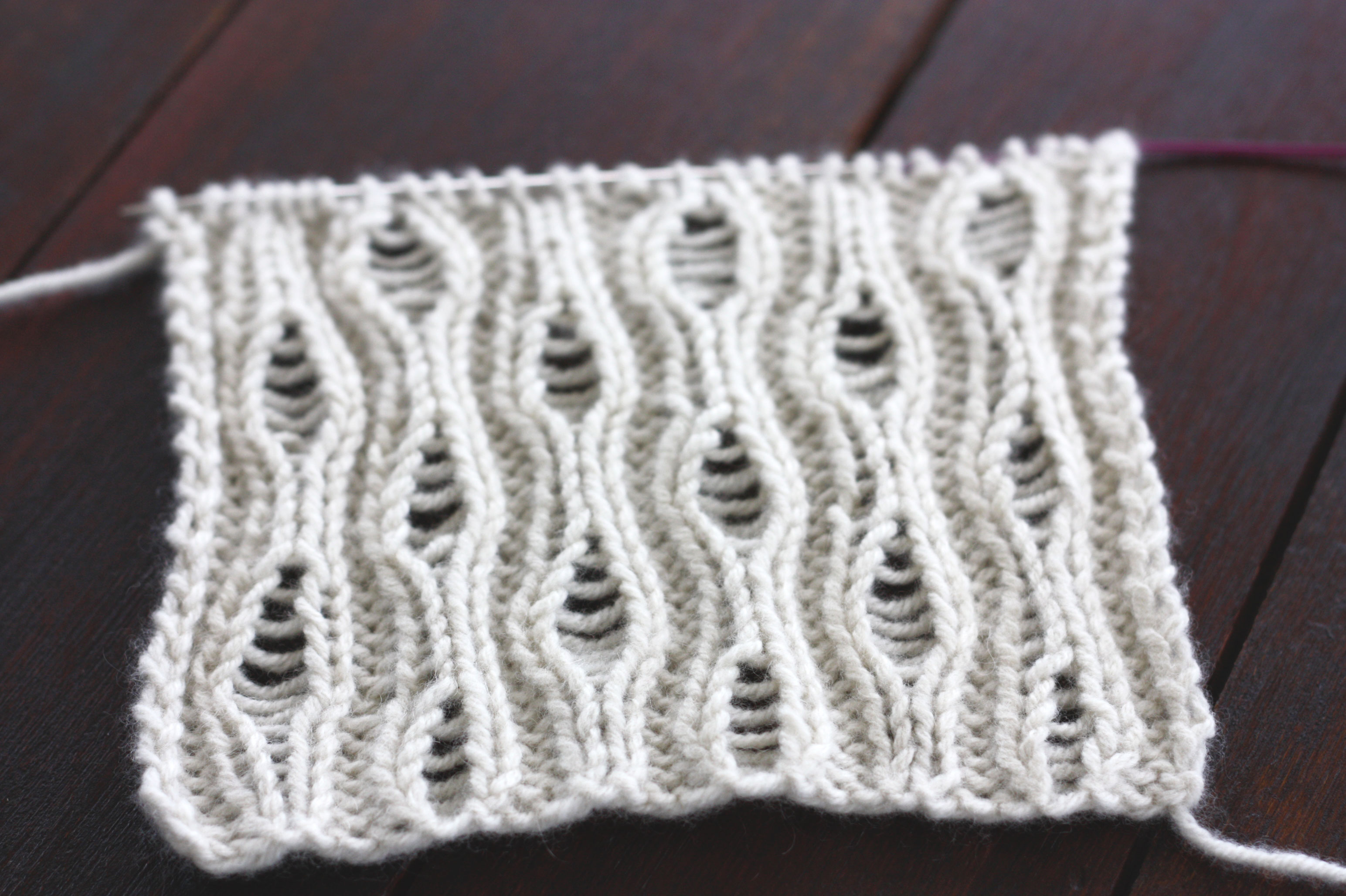 Knitting Dropped Stitch Help : rain drops